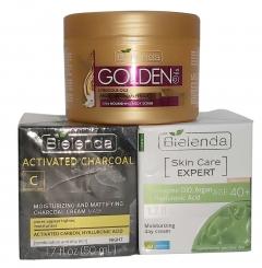 Clamanti Bielenda Promo Set - Activated Charcoal + Skin Care Expert + Golden Oils Scrub